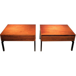 Pair of Zingg-Lamprecht side tables in rosewood and steel, Dieter WAEKERLIN - 1960s