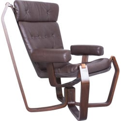 """Norwegian """"Falcon"""" chair in plywood and dark brown leather - 1960s"""