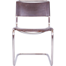 """Dutch """"S33"""" Thonet dining chair in chromed steel and leather, Mart STAM - 1930s"""