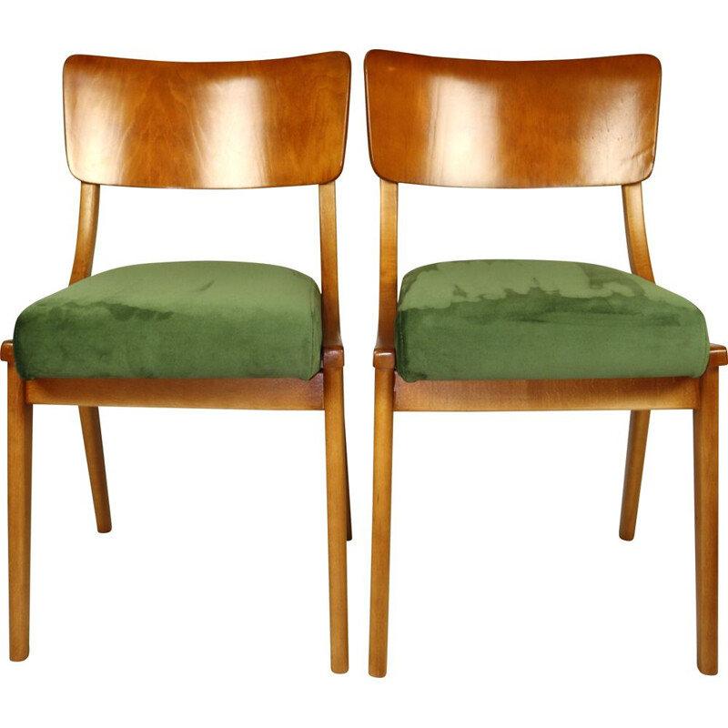 Pair of vintage green dining chairs, 1970s