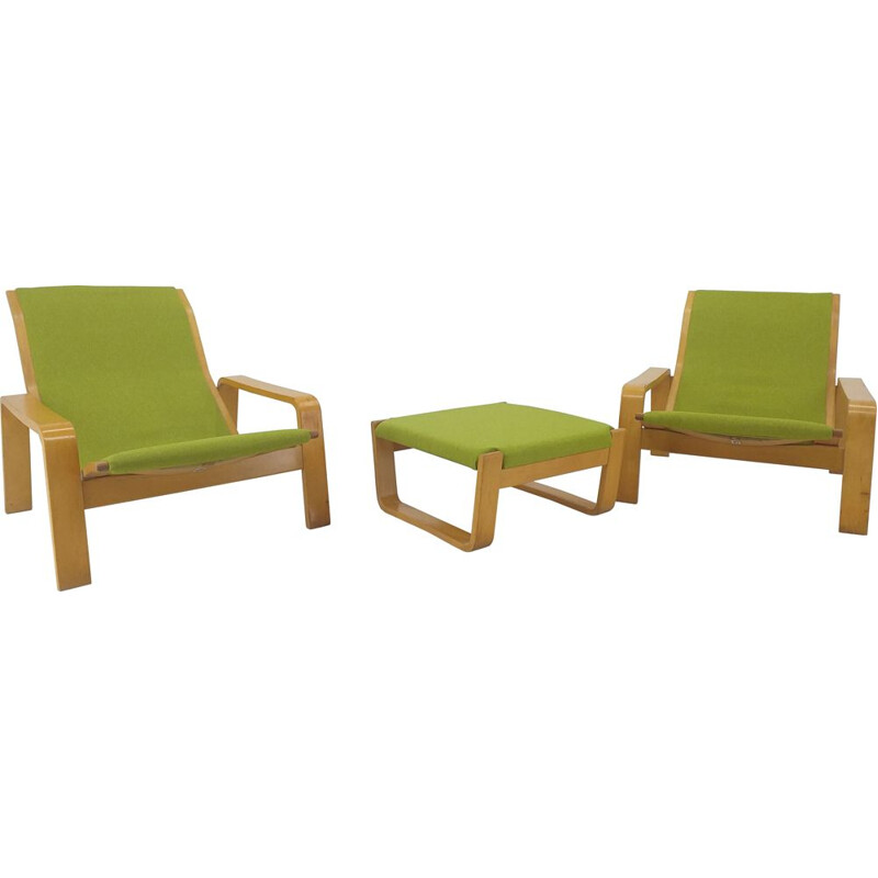 Pair of vintage armchairs and footrest Pulkka by Ilmari Lappalainen for Asko, Finland 1970s