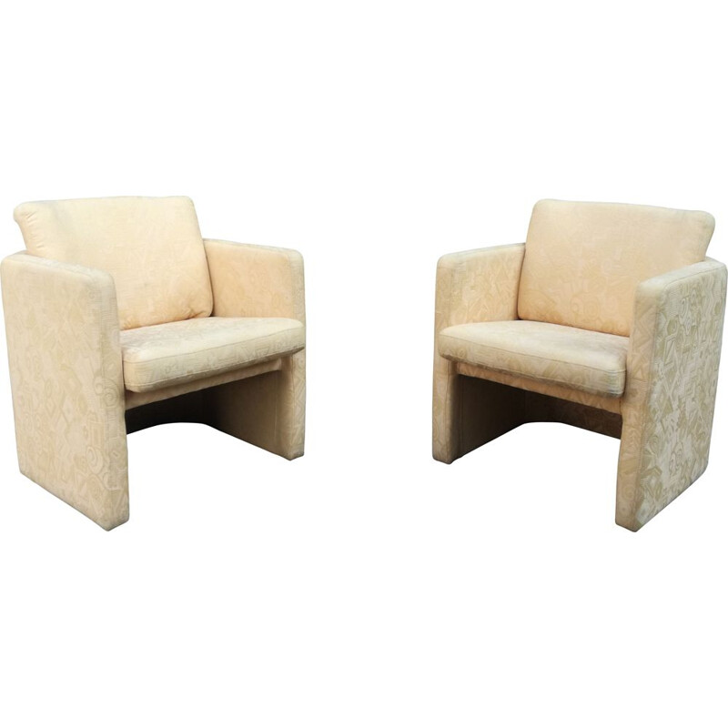 Pair of vintage cubist armchairs in patterned fabric