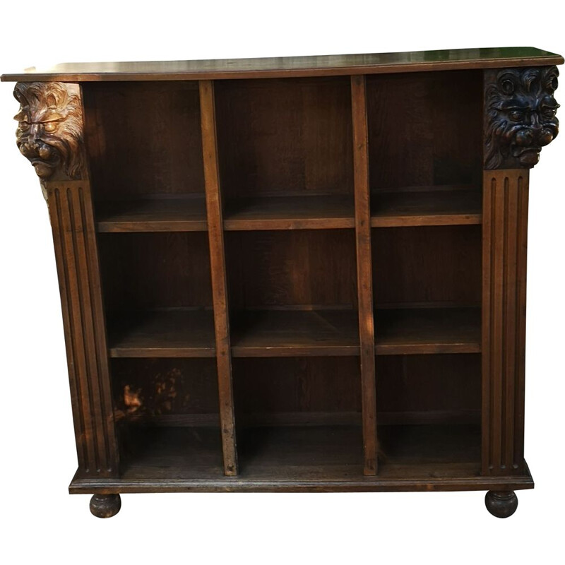Vintage Bibus bookcase with carved lion heads
