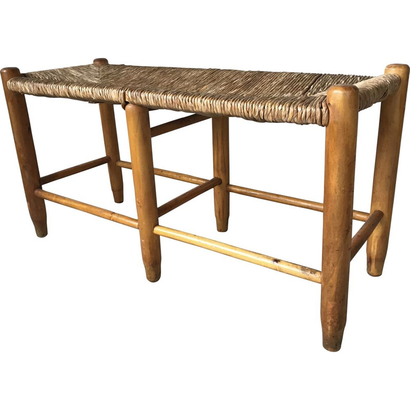 Pair of vintage straw benches, 1950