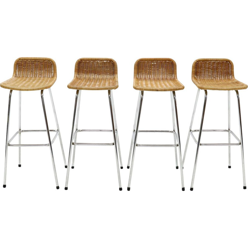 Set of 4 vintage chromed steel and rattan bar stools by Rohé Noordwolde, 1960s