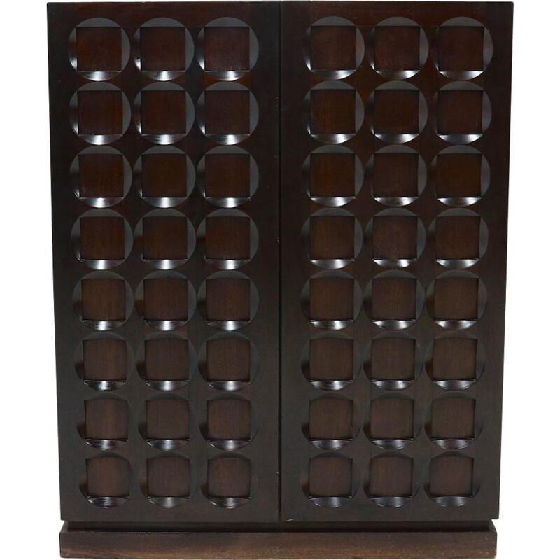 Belgian vintage brutalist graphical mahogany highboard by Defour, 1970s
