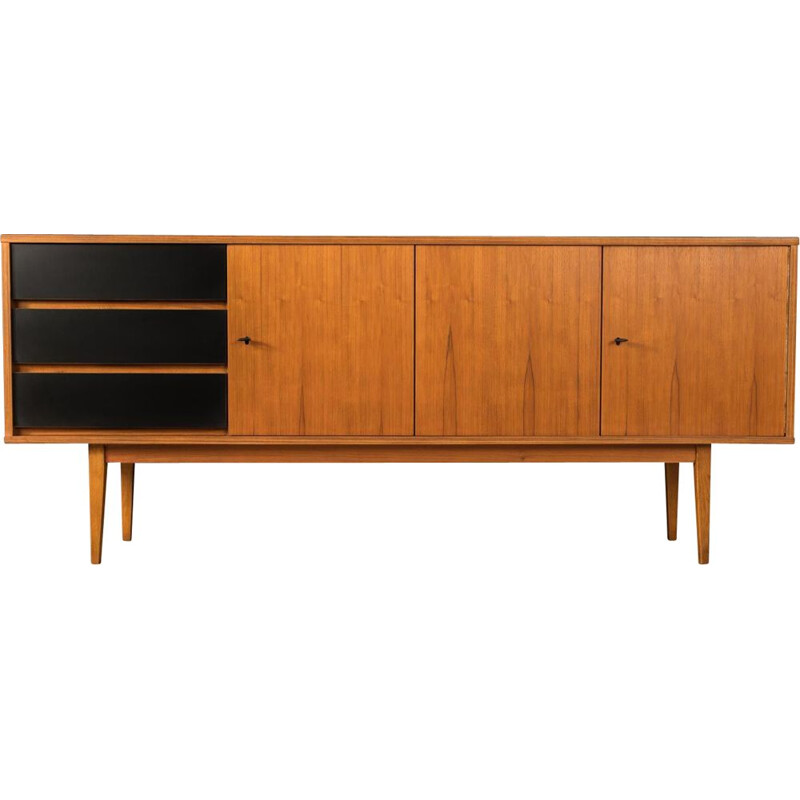 Mid century walnut and black formica sideboard, Germany 1960s