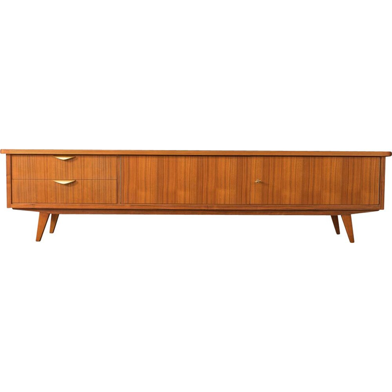 Vintage walnut lowboard with two drawers and two doors, Germany 1950s