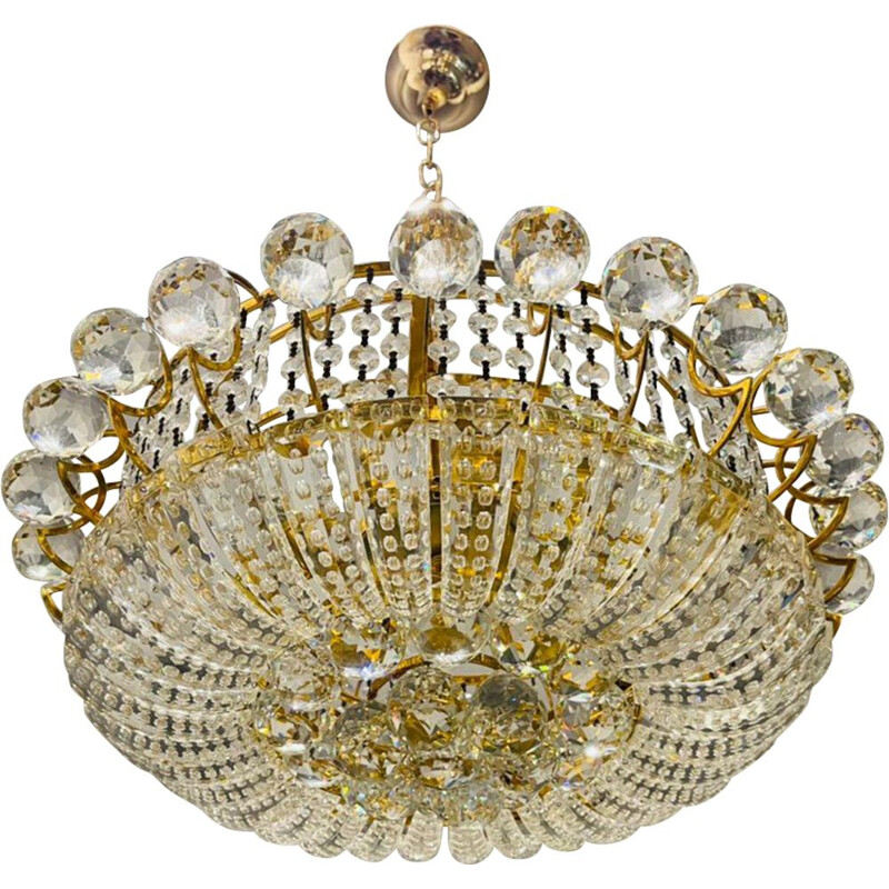 Italian vintage crystal and brass chandelier, 1970s