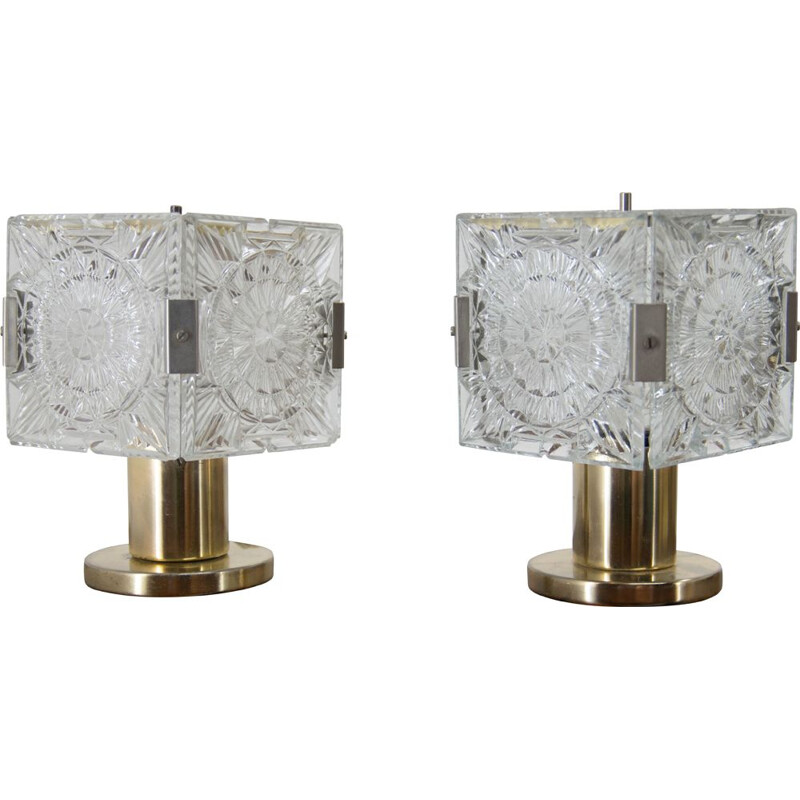 Pair of vintage brass and glass table lamps by Kamenicky Senov, 1970s