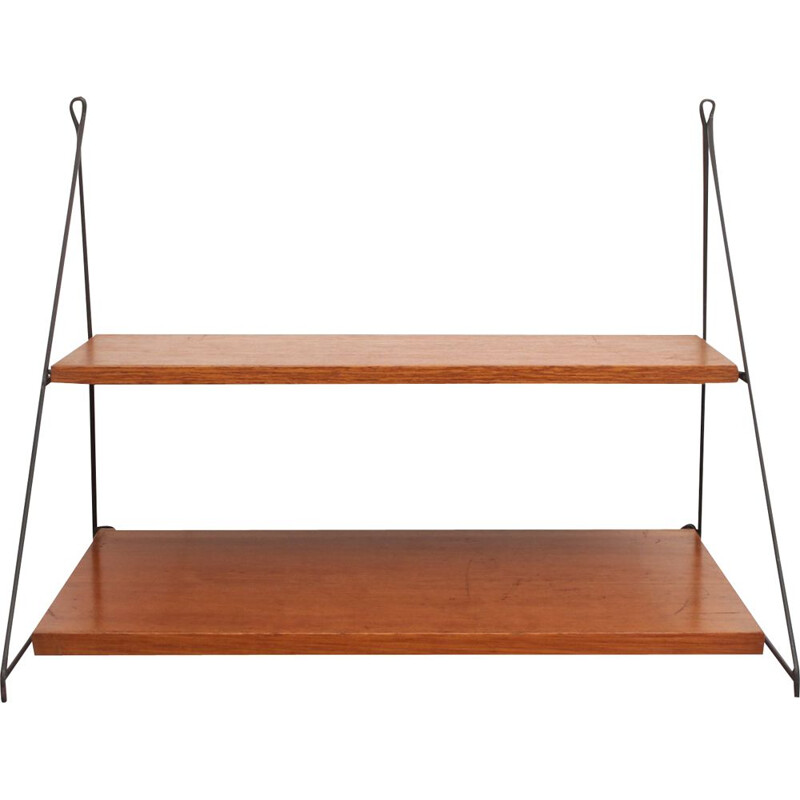 Vintage triangle wall unit in teak, 1960s