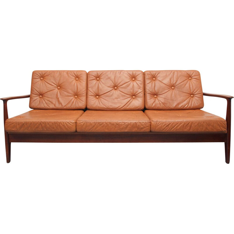 Vintage sofabed in teak and leather, 1960s