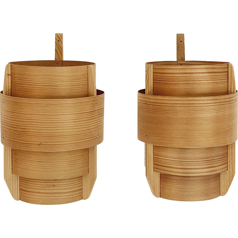 Pair of vintage pine wood wall lamps by Hans-Agne Jakobsson for Ellysett Ab, Sweden 1960s