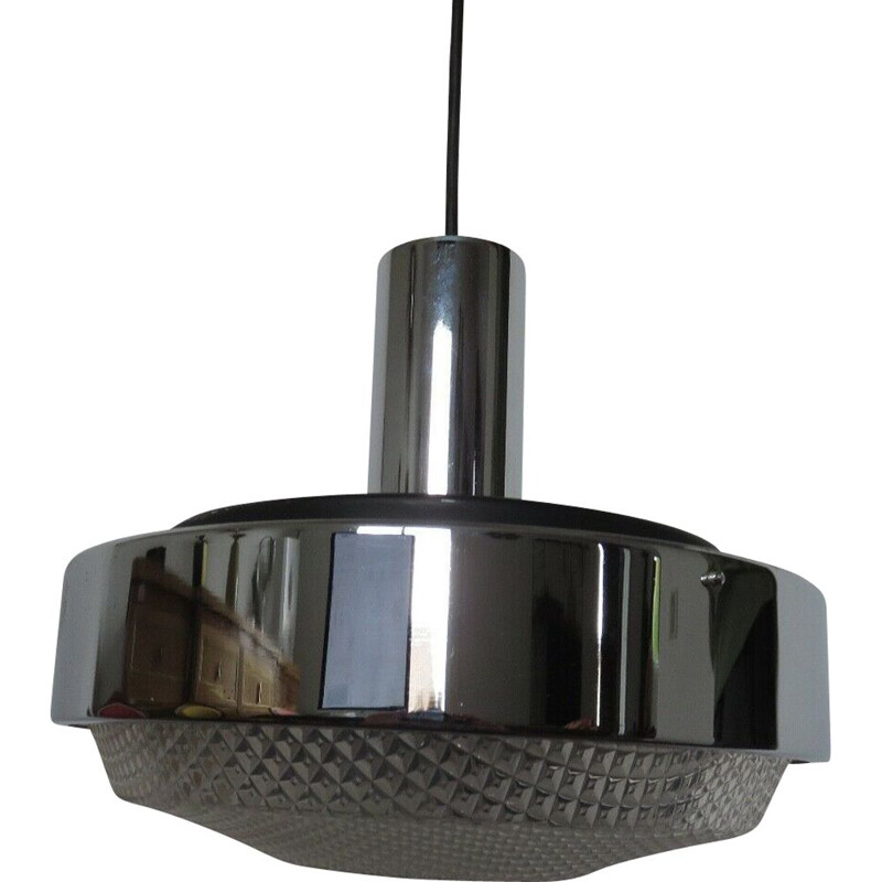 Vintage chrome-plated metal and perspex pendant lamp, France 1970