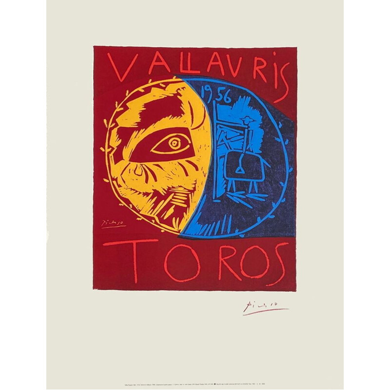 Vintage poster by Pablo Picasso for Toros Vallauris, 1995