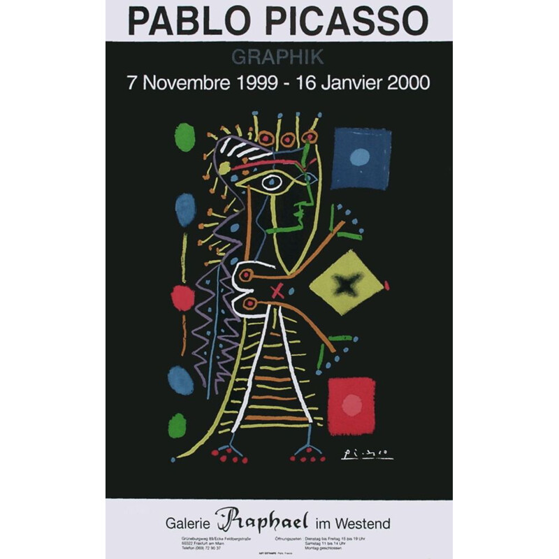 Vintage poster for Galerie Raphael by Pablo Picasso, 1999