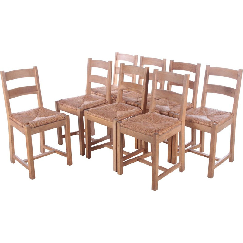 Set of 8 Danish vintage oakwood kitchen chairs with wicker seat, 1970s