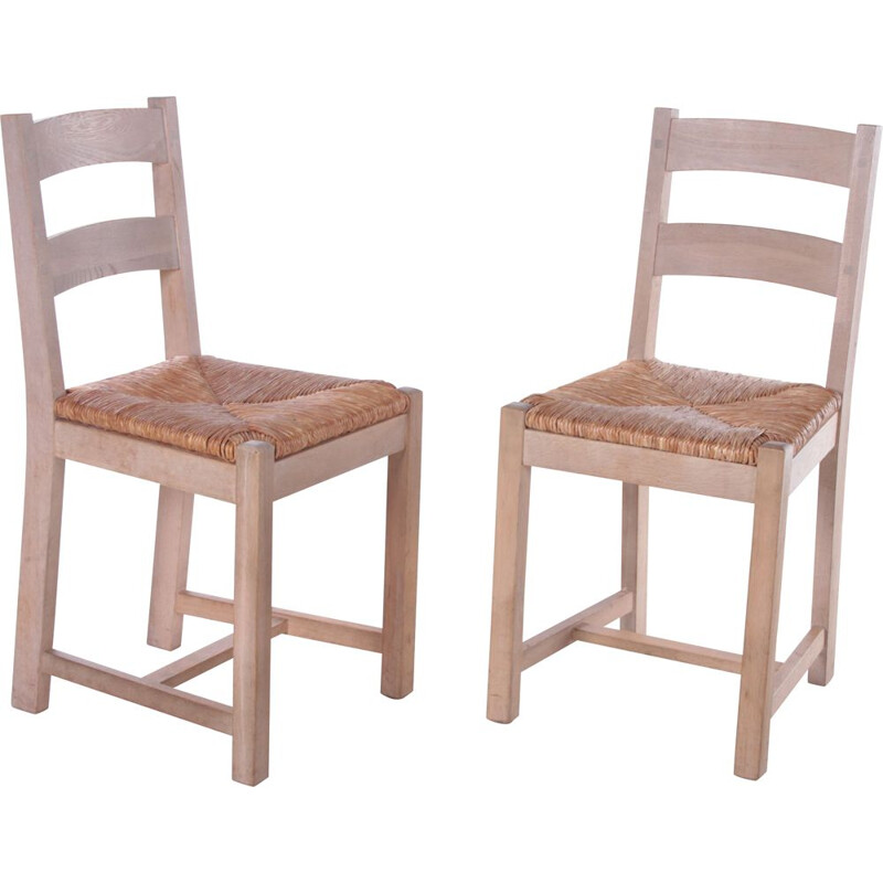Pair of vintage Danish oakwood kitchen chairs with wicker seat, 1970s