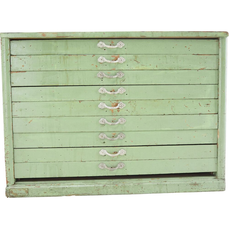 Industrial green wood chest of drawers