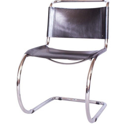 Thonet chair in chromed steel and dark brown leather, Mies VAN DER ROHE - 1930s