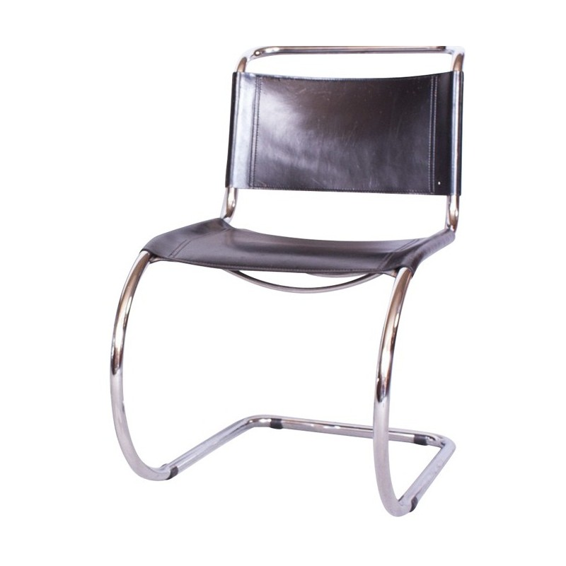 Thonet Chair In Chromed Steel And Dark Brown Leather, Mies Van Der