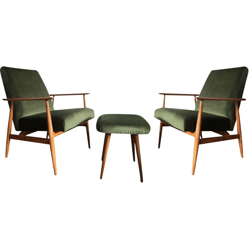 Pair of mid-century green armchairs with footrest by Henryk Lis, 1960s