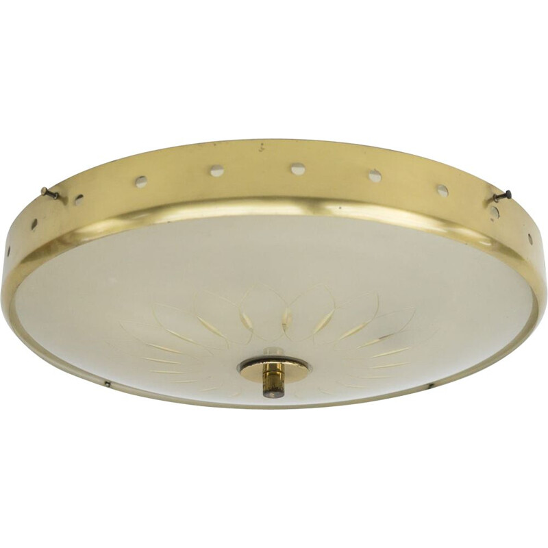 Brass and glass vintage ceiling lamp, Italy 1950s