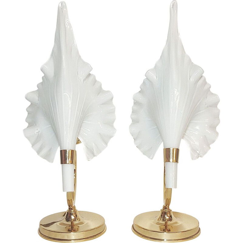 Pair of vintage Calla Lily Murano glass table lamps