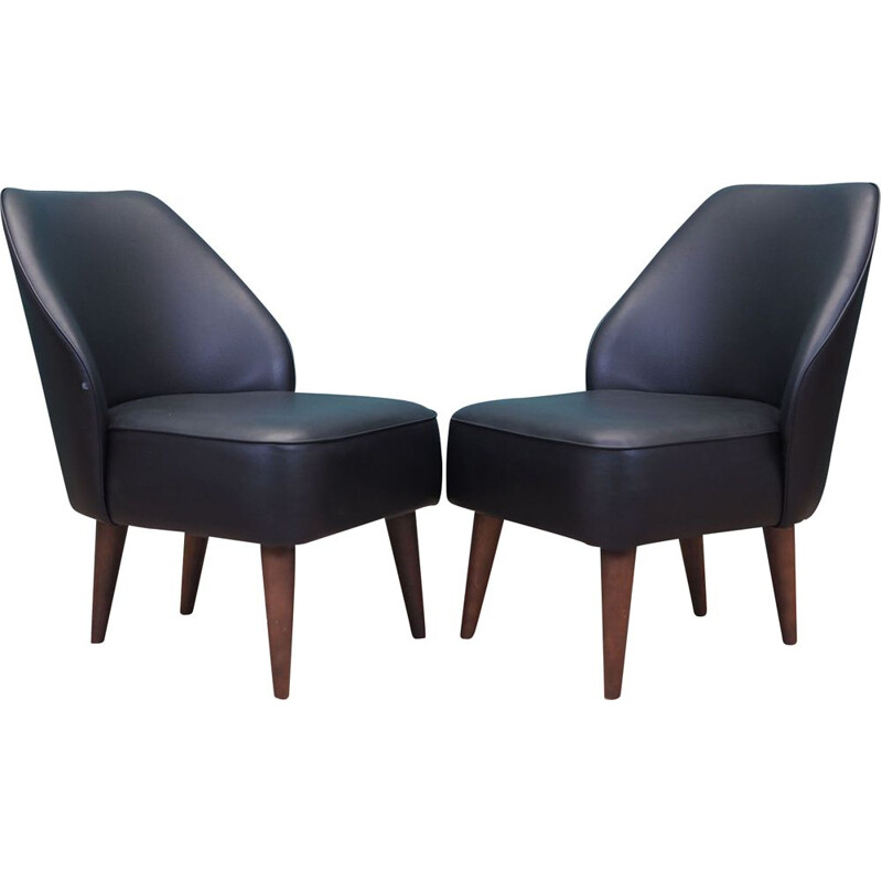 Pair of vintage leather armchairs, Denmark 1990s