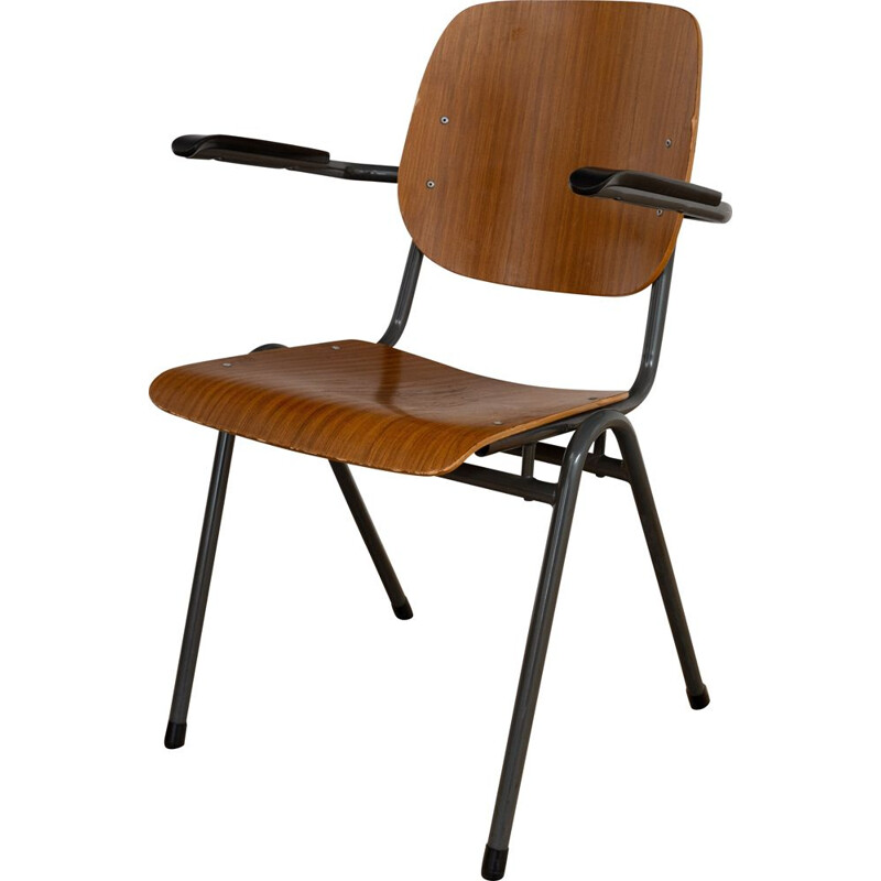 Stackable vintage chair with armrests