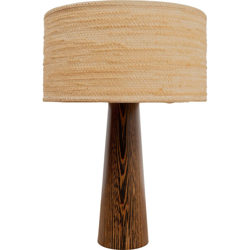 Vintage fabric and wood desk lamp