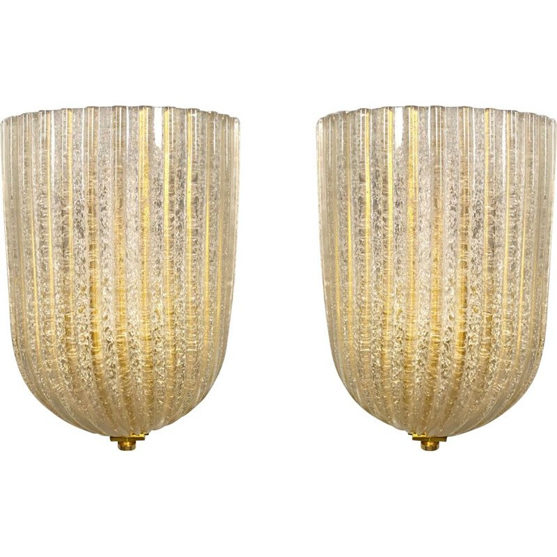 Pair of vintage wall lamps by Barovier & Toso for Murano, Italy 1970s
