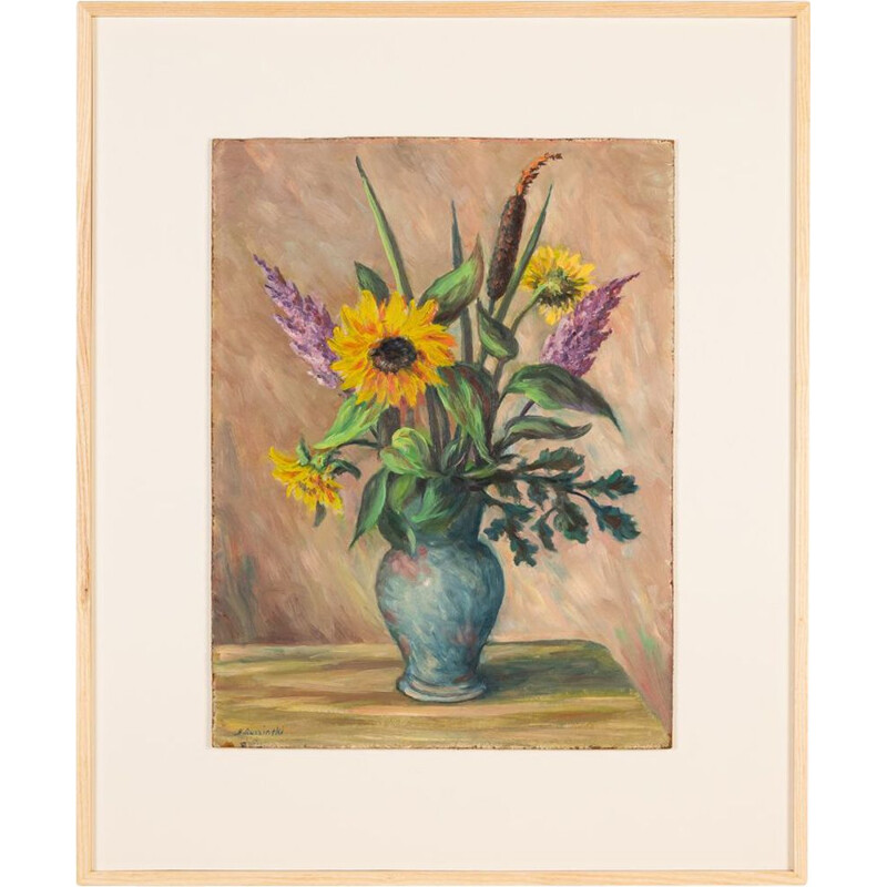 """Vintage """"Summery Bouquet of Flowers"""" oil on plate"""