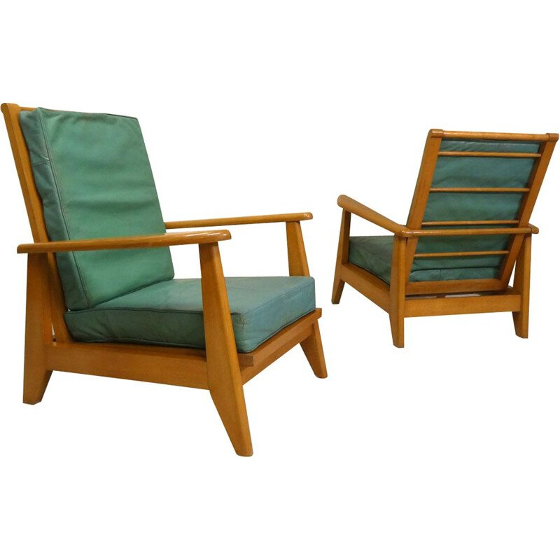 Pair of vintage green leather system armchairs, 1940-1950