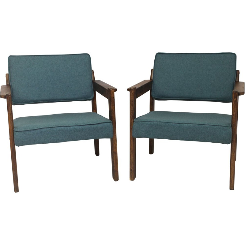 Pair of vintage wood and green fabric armchairs, 1970