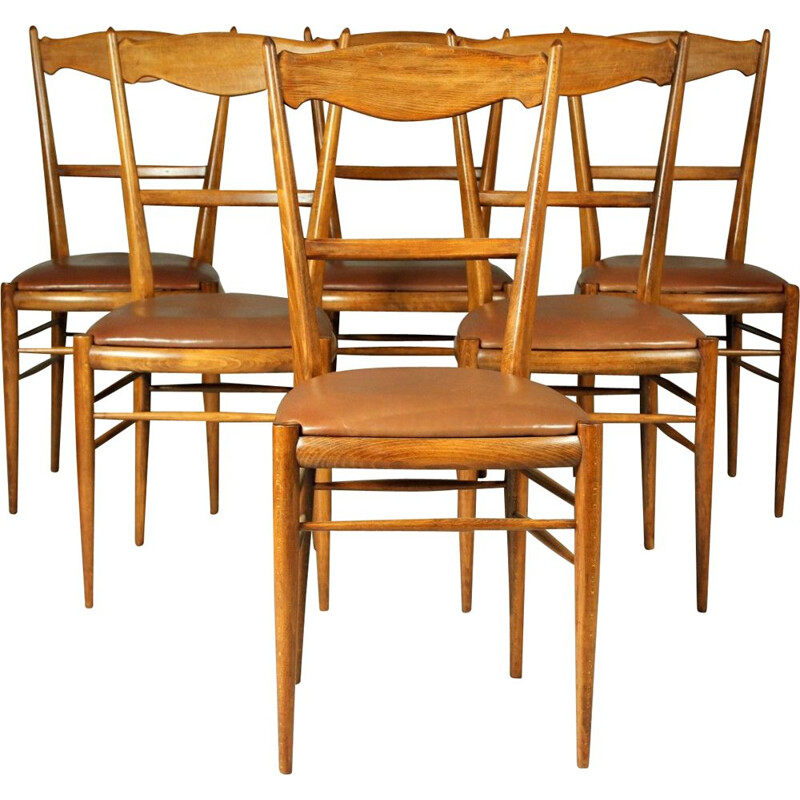 Set of 6 vintage Czech beechwood dining chairs, 1970s