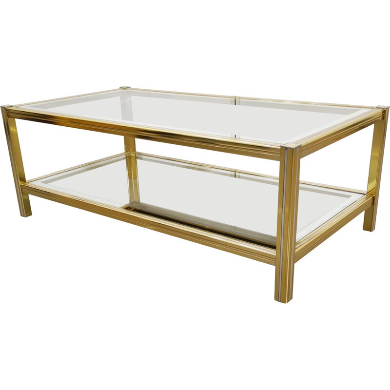 Vintage gold and silver coffee table by Pierre Vandel
