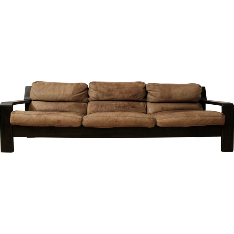 Vintage leather three-seater sofa by Rolf Benz