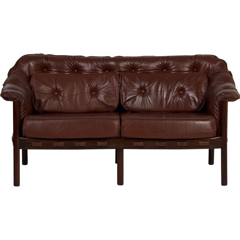 Vintage two-seater brown leather sofa by Sven Ellekaer for Coja, 1960s