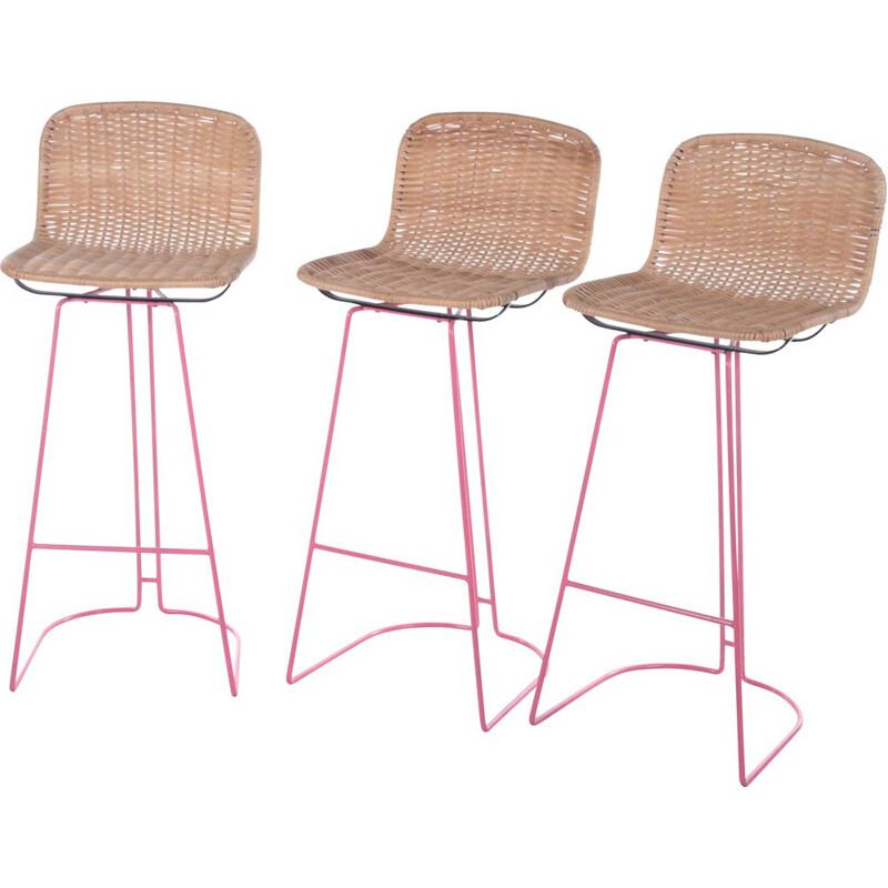 Italian vintage set of 3 bar stools made of cane and metal by Cidue, 1980s