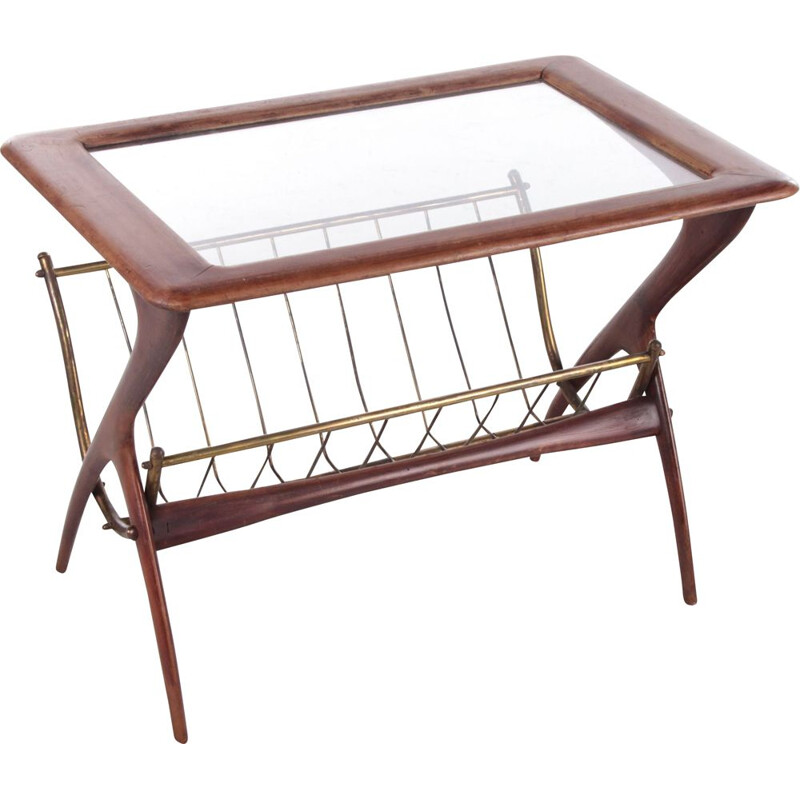 Vintage Italian side table with magazine rack by Ico Parisi, 1960s