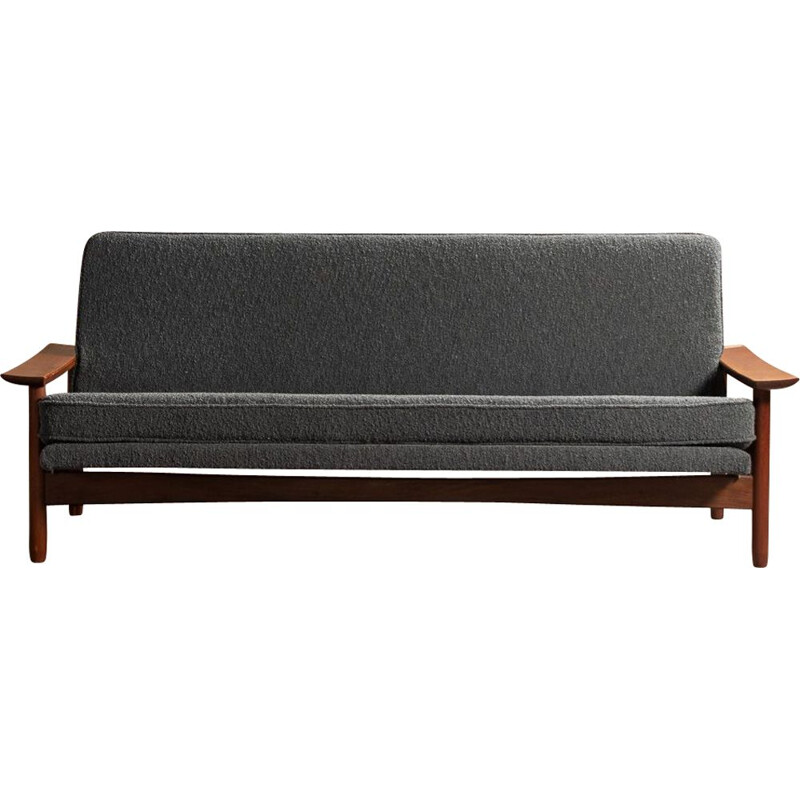 Vintage convertible sofa in teak and dark gray fabric 3 places by Gérard Guermonprez