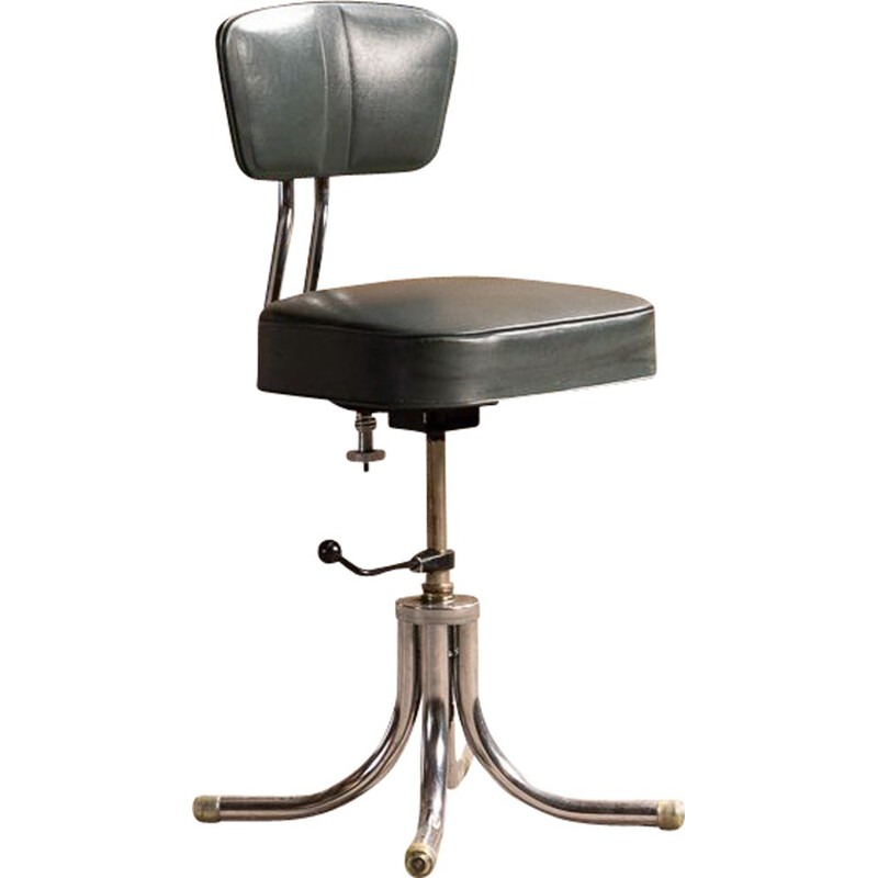 Metal and leatherette industrial chair