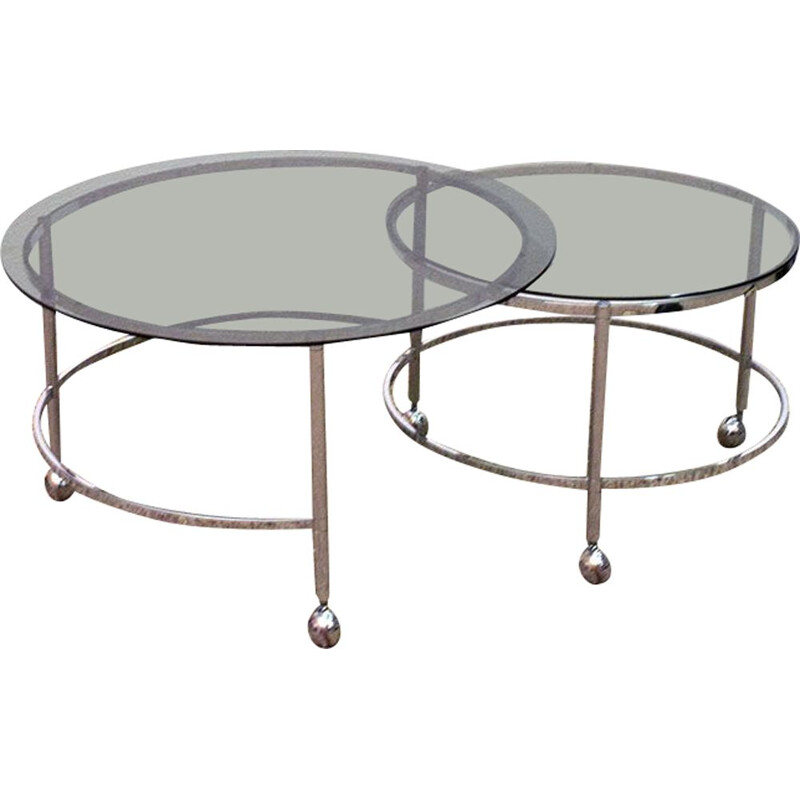 Vintage swivel nesting tables in chromed steel and crystal, 1970s