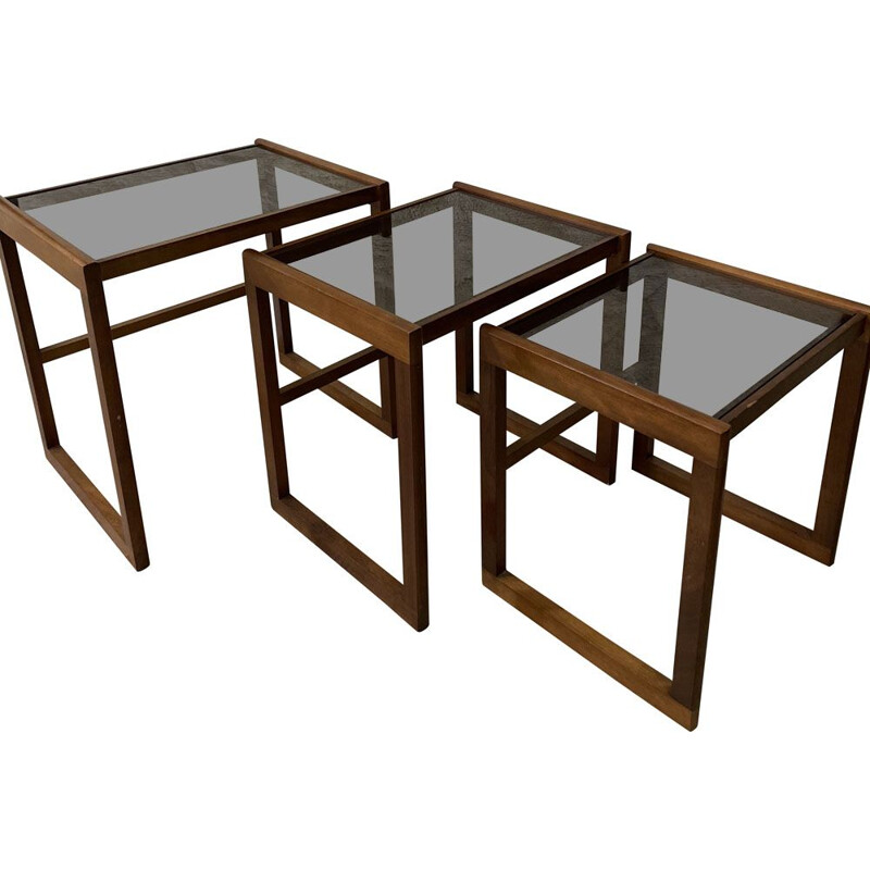 Vintage teak and smoked glass nesting tables, 1950