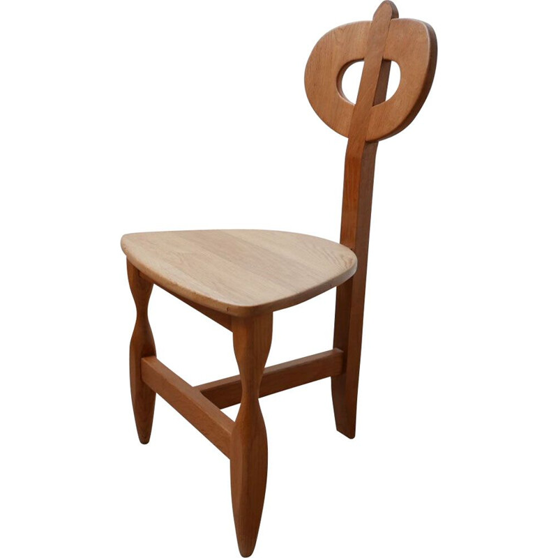 Mid-century French oakwood tripod chair by Guillerme et Chambron, 1960s