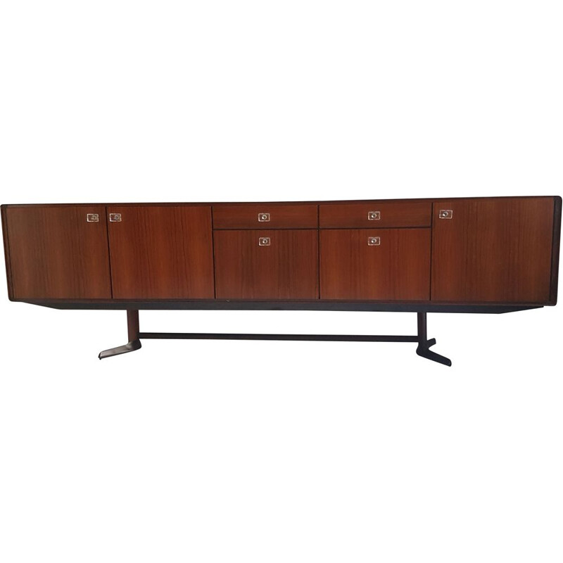 Rosewood and teak vintage Franeker sideboard with glass knobs by William Watting for Fristho, 1960s