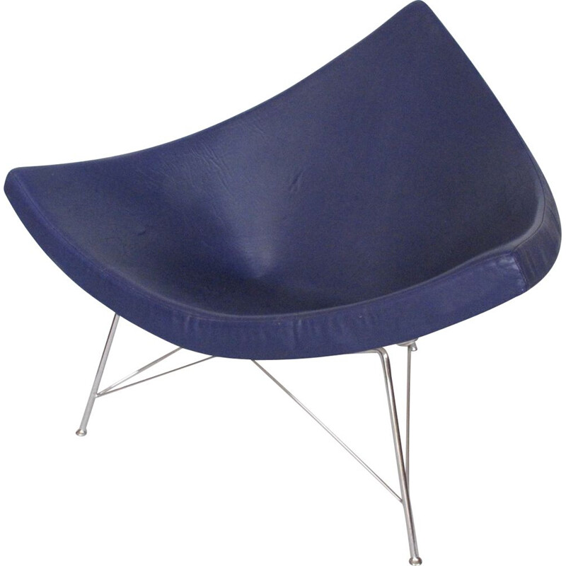 Vintage Coconut blue leather armchair by George Nelson for Herman Miller