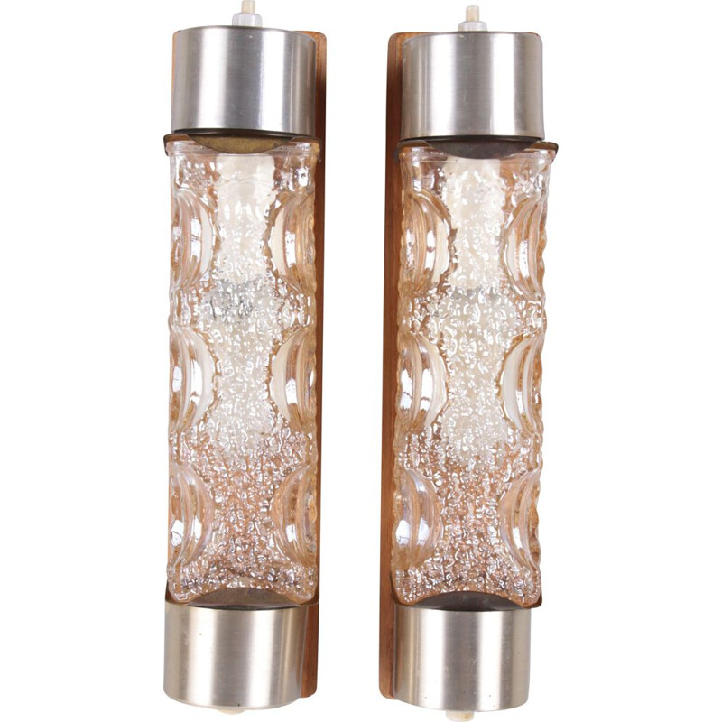 Pair of vintage Danish glass wall lamps, 1960s