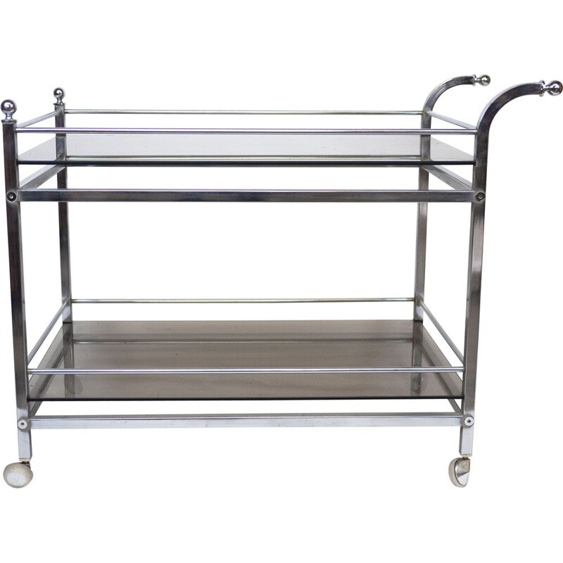 Vintage chrome and smoked glass drinks trolley, 1970s